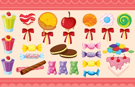 illustration of a various sweets and wallaper Vector