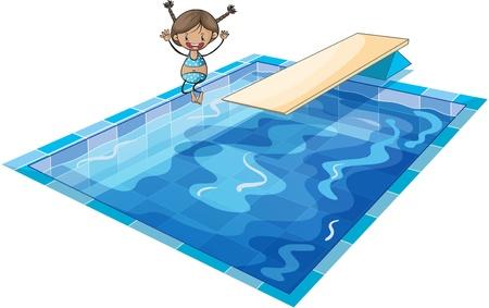 niños nadando: ilustración de una chica y el tanque de natación en un fondo blanco