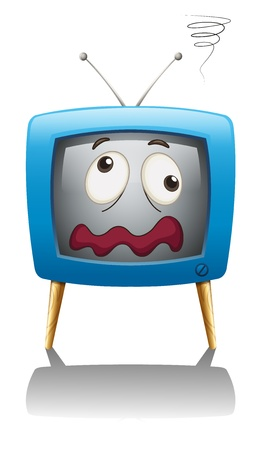 mouth screen: illustration of a television with face on a white background