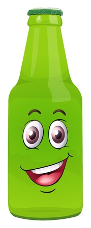 illustration of a bottle with face on a white background Vector