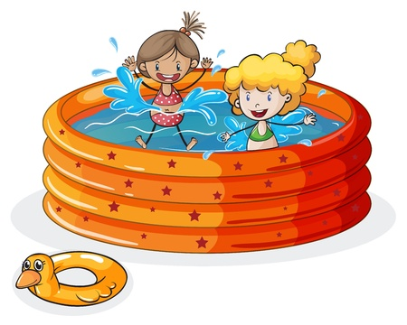 children swimming: illustration of a kids on a white background Illustration