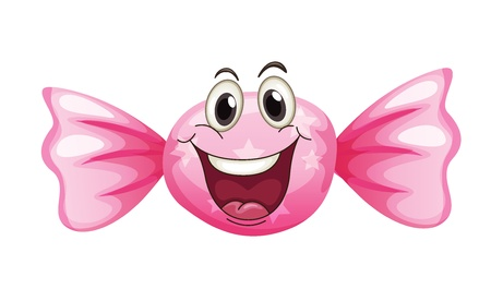 illustration of a candy with a face on a white background Illustration