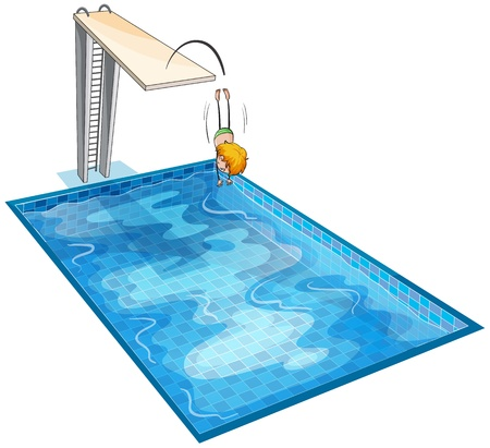 kids swimming pool: illustration of a boy and a swimming pool on a white background