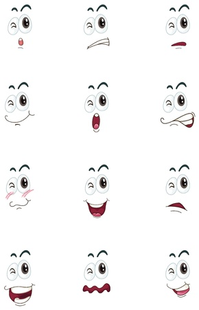 weep: illustration of faces on a white background
