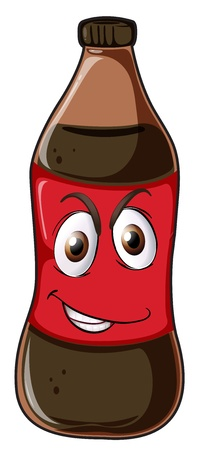 plastic material: illustration of a bottle with face on a white background