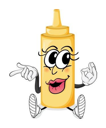mayonesa: Ilustraci�n de una botella con la cara sobre un fondo blanco Vectores