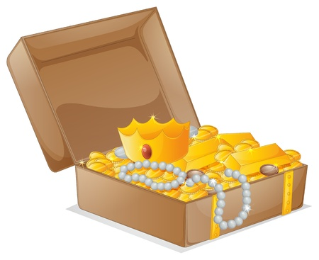 jewelry boxes: illustration of a treasure box on a white background