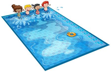 ni�os nadando: ilustraci�n de los ni�os en el tanque de nataci�n en un fondo blanco