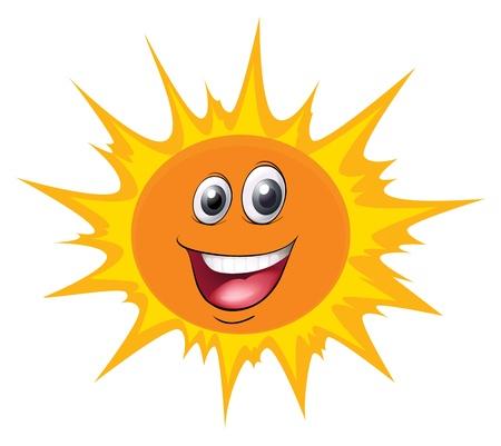 soleil souriant: illustration d'un visage sur un fond blanc Illustration