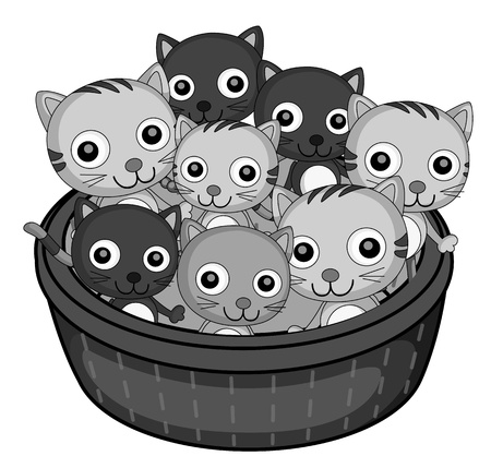 small basket: illustration of kittens on a white background