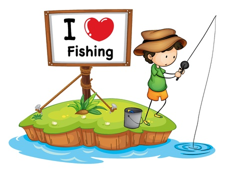 man fishing: illustration of a boy and a water on a white background
