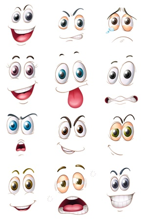 face expressions: illustration of faces on a white background