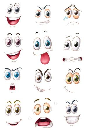expresiones faciales: Ilustraci�n de las caras en un fondo blanco Vectores