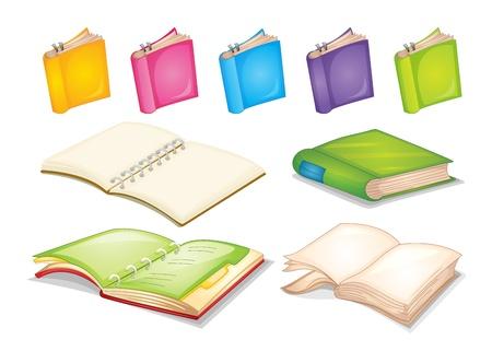 libros abiertos: ilustraci�n de libros sobre un fondo blanco Vectores