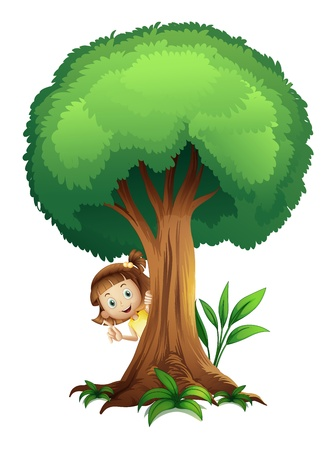 huge tree: illustration of a girl and a tree on a white background
