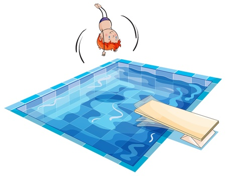 illustration of a boy and swimming pool on a white background Vector