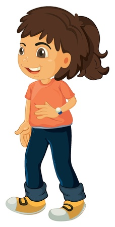 full pant: illustration of a girl on a white background