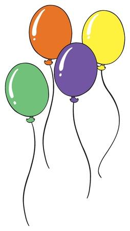 Ilustración de los globos en un fondo blanco