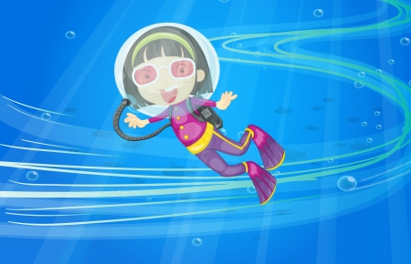 illustration of under water girl Vector