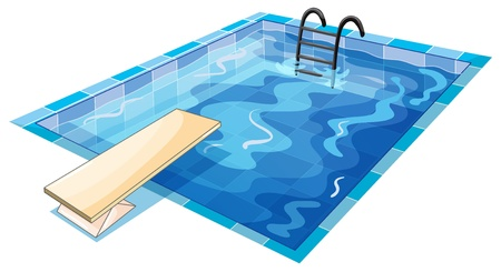 cartoon swimming: illustration of a swiming pool on a white background