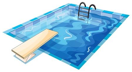 Ilustraci�n de una piscina de nataci�n en un fondo blanco