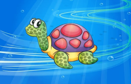 under the sea: illustration of under water tortoise