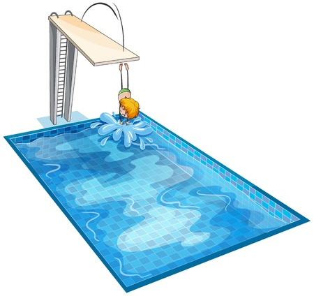 cartoon swimming: illustration of a boy in a swimming pool on a white background Illustration