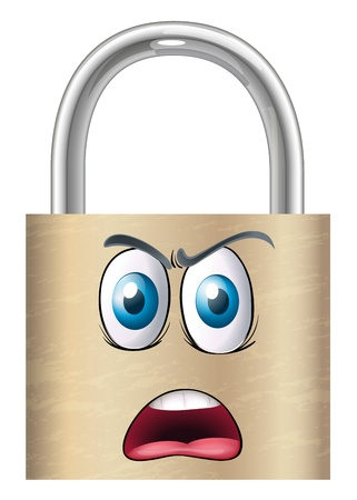 illustration of a lock with face on a white background