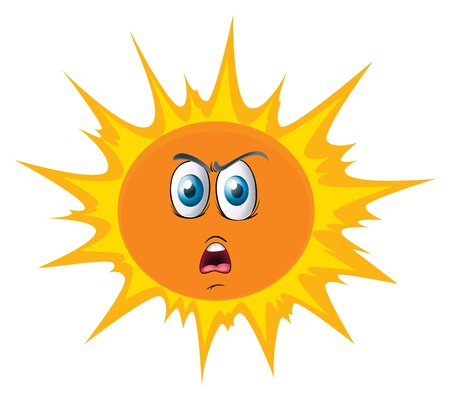 illustration of the sun with a face on a white background Vector