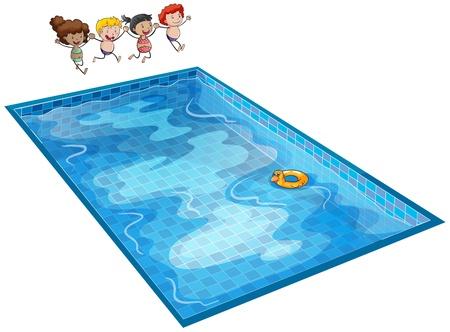meisje zwemmen: illustratie van kinderen op een witte achtergrond