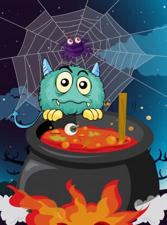 atrocious: illustration of a monster in a dark night Illustration