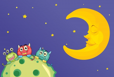 illustration of monsters and a moon in the sky Vector