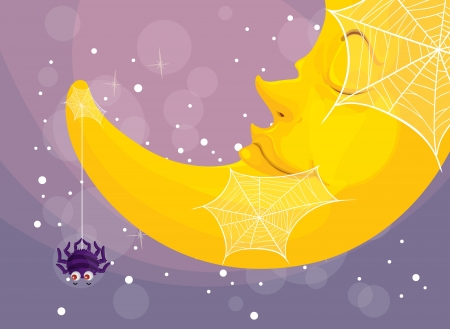 illustration of a spider and moon on a color background Stock Vector - 16633890