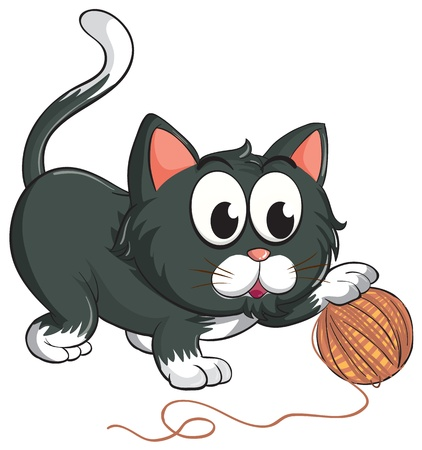 grey cat: illustration of a cat on a white background