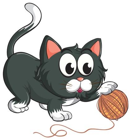 pelota caricatura: ilustraci�n de un gato sobre un fondo blanco Vectores