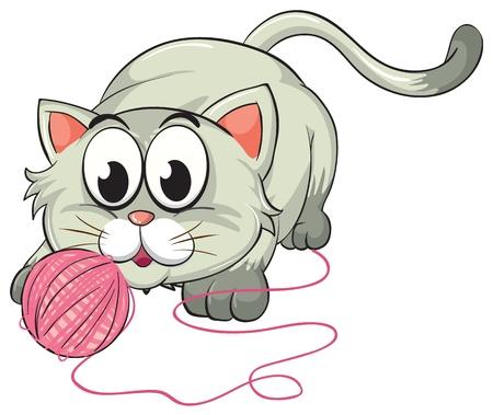 gomitoli di lana: illustrazione di un gatto su uno sfondo bianco