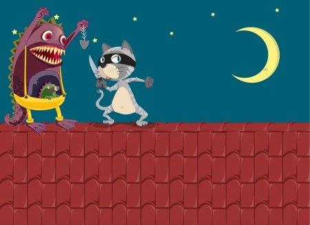 illustration of a monster and a cat on a roof Stock Vector - 16633894