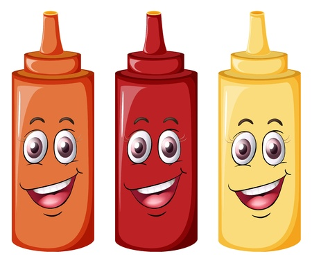 red eye: illustration of bottles with face on a white background