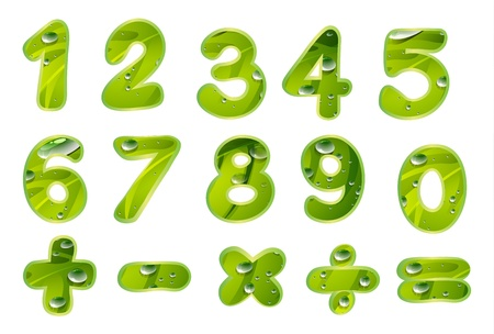 cartoon school: illustration of numbers and signs on a white background