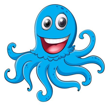 cartoon octopus: illustration of an octopus on a white background Illustration