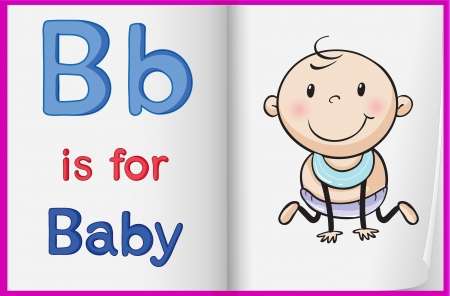 letters clipart: illustration of a kid on a book on a white background