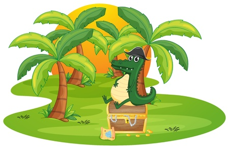 illustration of a crocodile and a jewelry box on a white background Vector