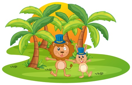 bush babies: illustration of a lion and rabbit on a white background Illustration