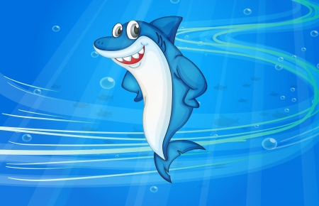tiburon caricatura: ilustraci�n de peces de agua bajo tibur�n