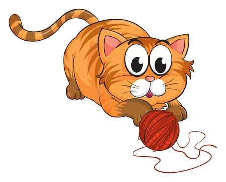 Ilustración de un gato sobre un fondo blanco.