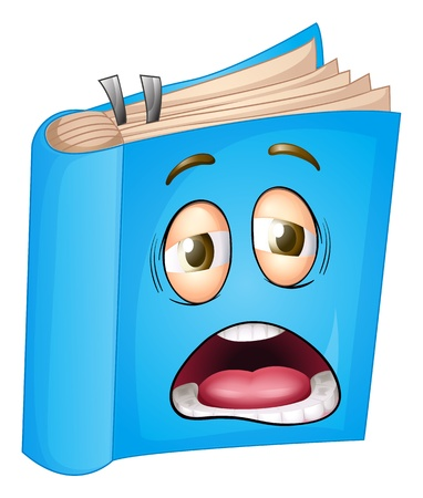 angry face: illustration of a book on a white background Illustration