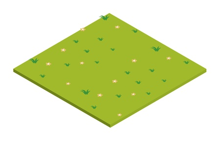cartoon land: illustration of lawn isometric on a white background