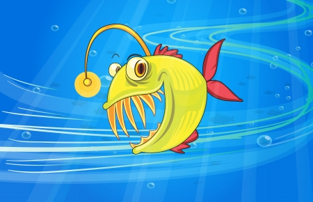 fearsome: illustration of under water fish Illustration