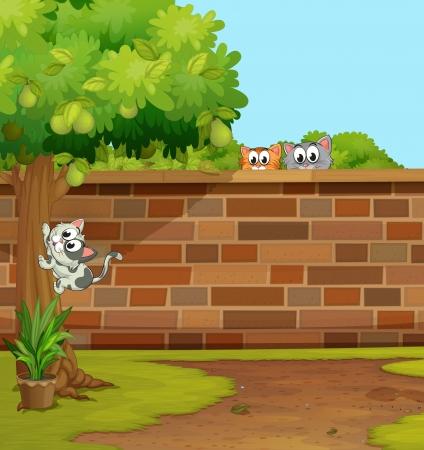 gato jugando: ilustraci�n de los gatos en una hermosa naturaleza Vectores