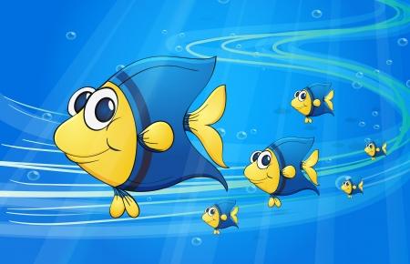 water: illustration of under water fish Illustration